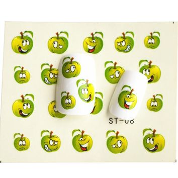 1 sheet Funny Green Apple Water Transfer Foil Nail Art Sticke