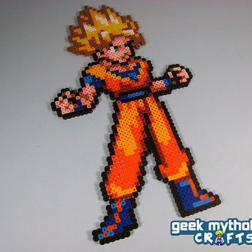 Super Saiyan Goku Dragon Ball Z -  Perler Bead Sprite - Pixel Art Decoration