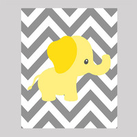 Yellow Elephant on Gray Chevron Nursery Decor Baby Print Custom Art CUSTOMIZE YOUR COLORS 8x10 Prints Nursery Decor Art Baby Room Decor Kids
