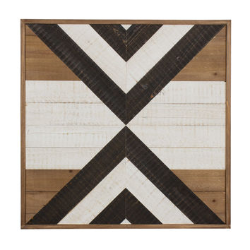 Kate and Laurel Baralt 23.75-Inch Square Shiplap Wood Wall Art