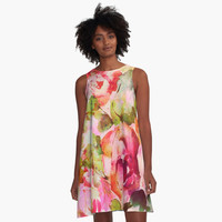 'roses abstraites/abstract roses' Robe trapèze by clemfloral