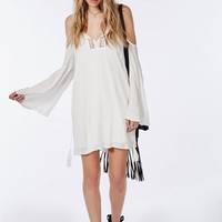 CHEESECLOTH COLD SHOULDER CROCHET SWING DRESS WHITE