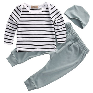 Clothes Tops T-Shirts Long Sleeve + Pants Legging + Hat Casual Clothing 3PCS Set Newborn Kids Baby Boys Girls Outfits