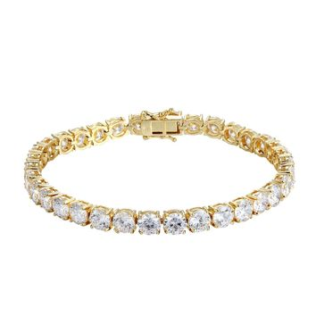 Designer 14k Gold Finish 6MM Solitaire Fashion Tennis Bracelet