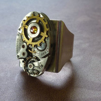 Steampunk Ring Vintage Hamilton Oval Watch Movement w Vintage Brass Gear and Genuine Volcano Swarovski Crystal