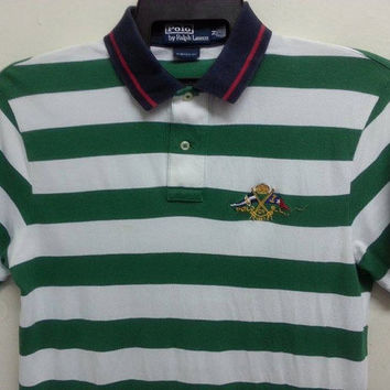 sale Vintage Polo By Ralph Lauren Flag Logo Stripe Indie Polo Shirt