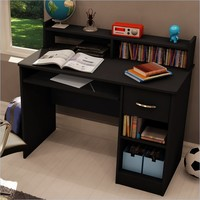 South Shore Axess Small Wood Computer Desk with Hutch in Pure Black - 7270076