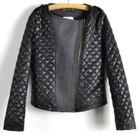 Black Quilted Leather Padded Jacket