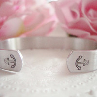 "Refuse To Sink Hand Stamped 3/8"" Cuff Bracelet With Anchors Made To Order Design 2"
