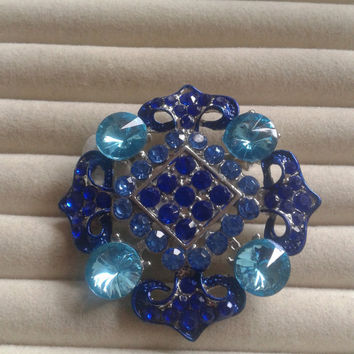 Closing sale - light blue and blue  crystal  brooch  pin
