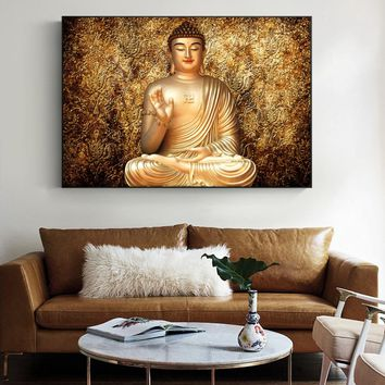 Golden Color Buddha Wall Art Canvas Buddhism Portrait Paintings On The Wall Buddhism Poster Cuadros Pictures For Living Room