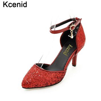 Kcenid New autumn pointed toe ankle strap wedding shoes evening party thin heel pumps red woman shoes glittering bridal shoes
