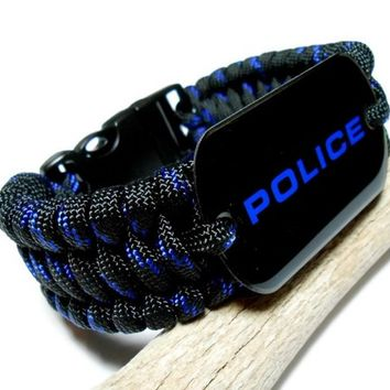Paracord Bracelet Wide Thin Blue Line Police Dog Tag Military Grade