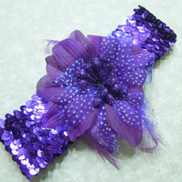 Purple Sequin headband with Purple feather flower for children, baby, hair accessories by MarlenesAttic