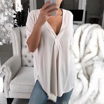 Heflashor Summer Casual Loose Short-sleeved Shirt Women Sexy Deep V-neck Solid Shirt Lightweight Tunic Blouse Female Plus Size