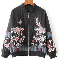 Black Floral Embroidery Bomber Jacket With Zipper