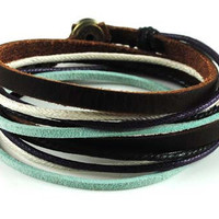 Soft Leather Multicolour Ropes Women Leather Bracelet Women Wrap Cuff Bracelet 278B
