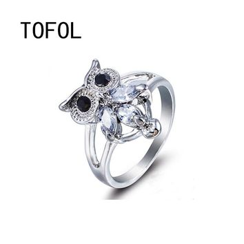 TOFOL Owl Alloy Rings for Women Animal Shape Creative Zircon Ring Gold Color Female Hand Jewelry Dropshipping