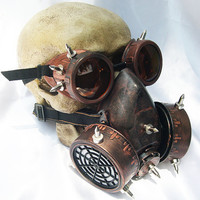 2 pc. set of Copper/Rust Distressed Look Steampunk Double Filter Respirator GAS MASK and Matching GOGGLES with Spikes- Burning Man Must Have