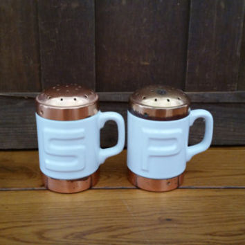 Vintage White Ceramic and Copper Salt and Pepper Shakers