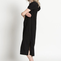 Vintage 90s Black Linen Short Sleeve Normcore Midi Dress with Hood | S