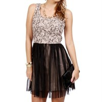 Leighton- Black/Nude Lace Mesh Prom Dress