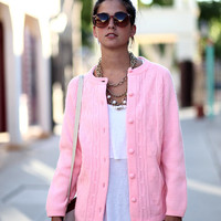 Bright Pink Knit Button Up Cardigan Sweater - Pretty in Pink