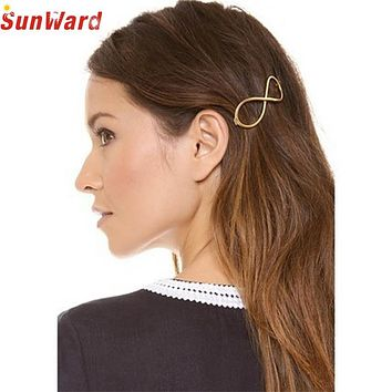 SunWard Coolbeener Fashion Women Positive Infinity Gold Barrette Hairpin Hair Clip Headband Jan6