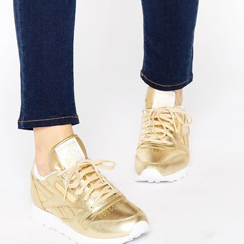 Reebok Classic Gold Leather Spirit Trainers
