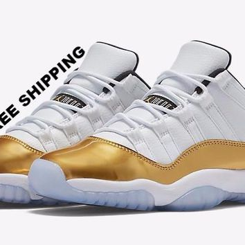 [FREE SHIPPING] AIR JORDAN 11 LOW (OLYMPICS / GOLD) Sneaker # 528895-103