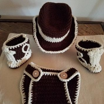 Cowboy/ cowgirl baby set/ 0-3 months baby photo prop set/ newborn outfit/cowboy hat,boots,and diaper cover