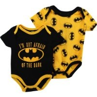 "Batman ""Bat Signal"" Black/Gold 2-Pack Infant Bodysuit Set (3/6M)"