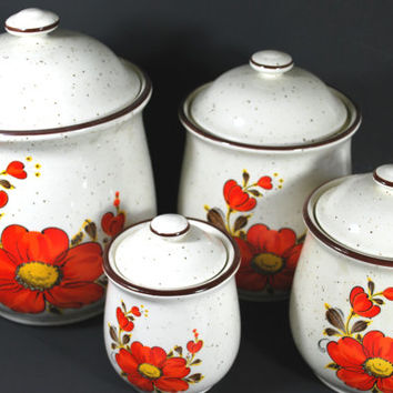 Food Cannisters vintage in Sandstone with Orange Flowers , Set of 4 containers for the kitchen