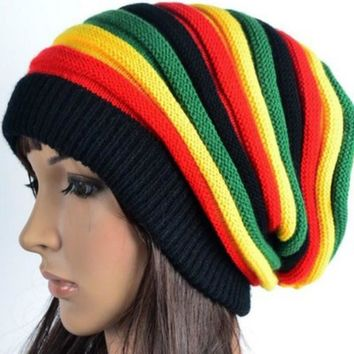 Fashion Winter Hip Hop hat Bob Marley Jamaican Rasta Reggae Multi-colour Striped Beanie Hats For Mens Women beanies ski knit hat