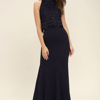 Sociable Navy Blue Lace Halter Maxi Dress
