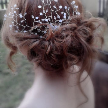 Bridal  Crystal  Hairvine Comb Wedding Teardrop Crystal Comb Hair Weddng accessory Translucent and Milky White Hair vine