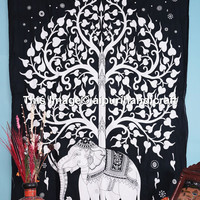 Tree Elephant Tapestry, White Elephant Tapestry, Tree Of Life Tapestry, Good Luck Elephant Tapestry, Indian Wall Hanging, New Age Dorm Sheet