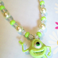 Mike from Monsters Inc, Green Pearls, Monsters Inc, Pearl necklace, Green necklace, Ribbon tie necklace, Girls gift, Birthday gift for girl.