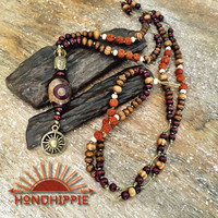 Large Dzi bead buddha sun symbol necklace, yoga mala meditation jewelry