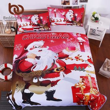 BeddingOutlet Christmas Bedding Set Bright Red Duvet Cover with Pillowcases Santa Claus With Elk Quilt Cover Single Queen Size