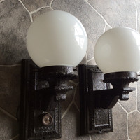 Antique Pair Cast Iron Sconces with Shades 1920s Industrial Gothic Outdoor Indoor