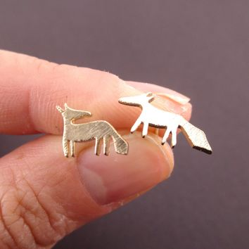 Running Red Fox Silhouette Shaped Stud Earrings in Gold