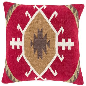 Cotton Kilim Throw Pillow Red, Brown
