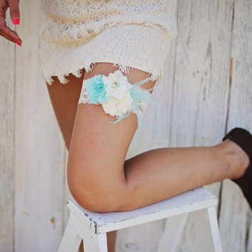 Shabby Chiffon Tiffany Blue Aqua Ivory Lace Pearl Feather Flower Bridal Garter Vintage Wedding Garter Or Garter Set