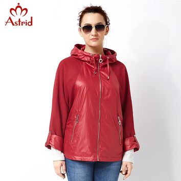 Astrid 2018 women Plus Size Trench Coat pleated Women Windbreaker Spring Autumn Coat short Big Size coat female casual AS-2797