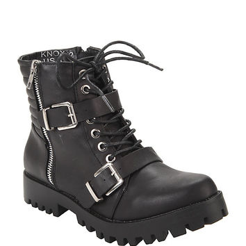 Black Lace-Up & Buckle Strap Ankle Boots