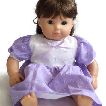 Doll Dress Purple White Pansy Bitty Twin Baby 14 to 16 inch Baby Doll --US Shipping Included