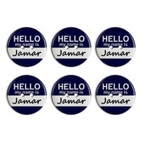Jamar Hello My Name Is Plastic Resin Button Set of 6