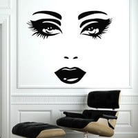 Makeup Wall Decal Vinyl Sticker Decals Home Decor Mural Make Up Girl Woman Eyes Face Lips Fashion Cosmetic Hairdressing Hair Beauty Salon Decor (6032)