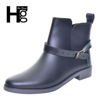HEE GRAND 2017 Fashion Elastic Band Solid Women Rain Boot Waterproof Women Boots Rubber Low Heel Shoes XWX5821